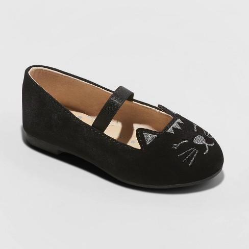 Toddler Girls' Macey Ballet Flats - Cat & Jack™ Black - image 1 of 3
