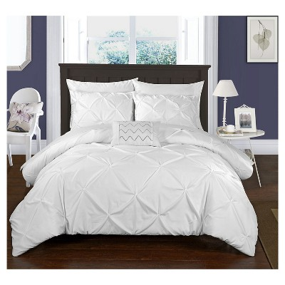 Whitley Pinch Pleated & Ruffled Duvet Cover Set 8 Piece (King)White - Chic Home Design