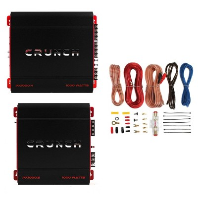 Crunch 4 Channel 1000W A/B Class Stereo Amplifier & 2 Channel Amp & Wiring Kit