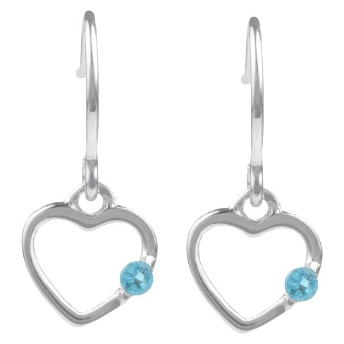 1/10 CT. T.W. Round-cut CZ Heart Dangle Pave Set Earrings in Sterling Silver - Aqua - image 1 of 2