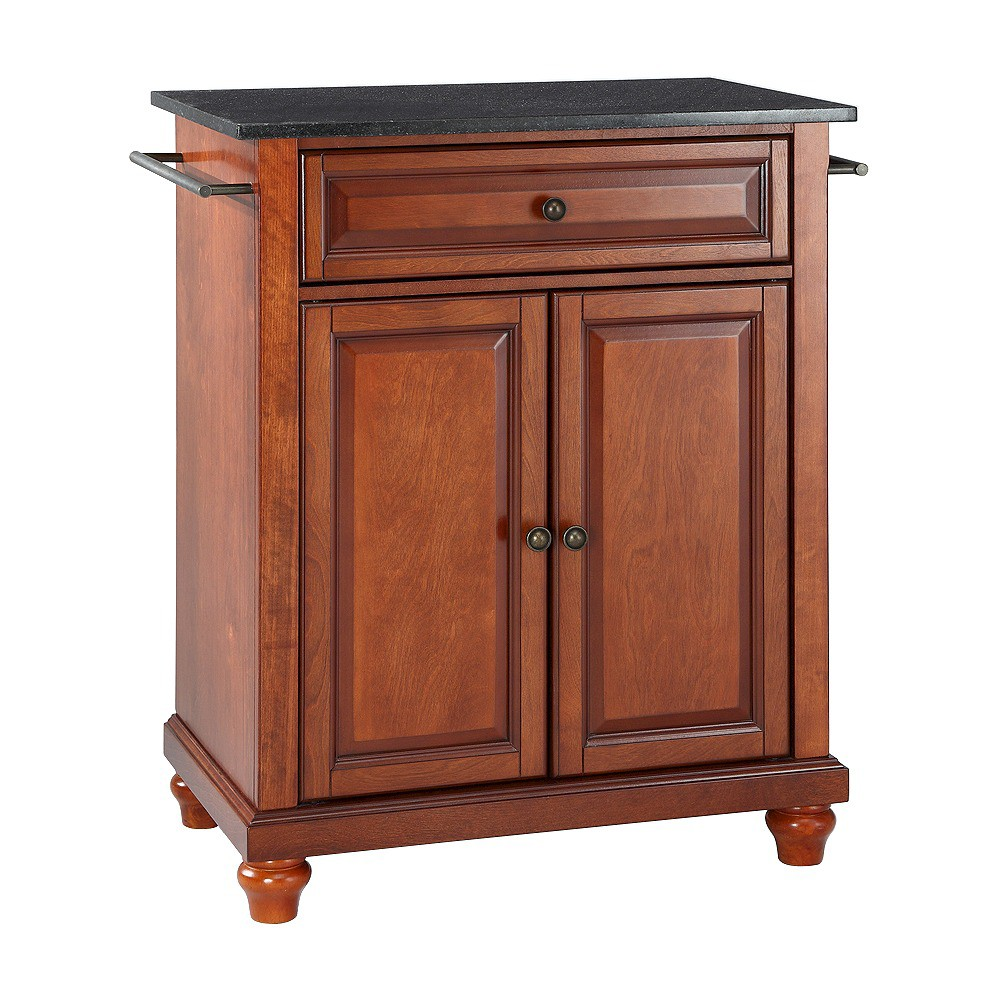 Cambridge Solid Black Granite Top Portable Kitchen Island - Classic Cherry (Red) - Crosley