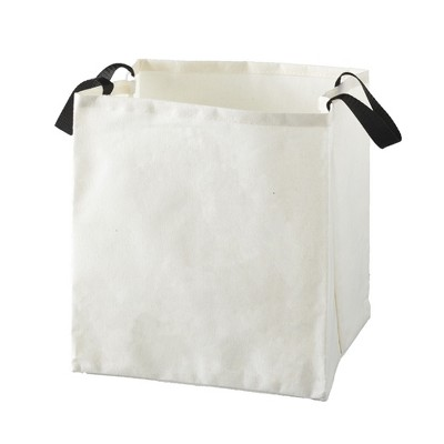 Lakeside Canvas Storage Laundry Bag with Fabric Handles - White