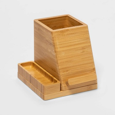 Small Bamboo Desk Storage & 5V/2.4A 2-Port USB-A Qi Wireless Charger - Project 62™