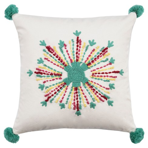 "Flower Medallion Throw Pillow (18""x18"") - Rizzy Home® - image 1 of 1"