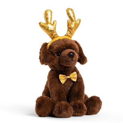 """FAO Schwarz Cheers 4 Antlers Chocolate Labrador 12"""" Stuffed Animal with Removable Wear-and-Share Ears"""