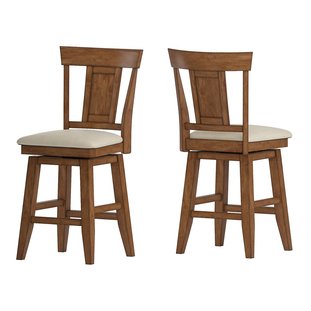 """Image of """"24"""""""" South Hill Panel Back Swivel Counter Height Chair Oak Brown - Inspire Q"""""""