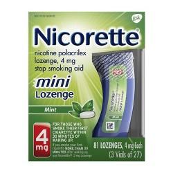 Nicorette 4mg Stop Smoking Aid Nicotine Mini Lozenge - Mint - 81ct