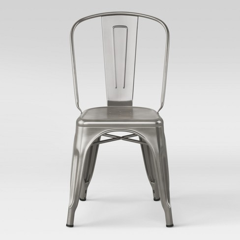 Carlisle High Back Fully Assembled Metal Dining Chair Silver - Threshold™ - image 1 of 4