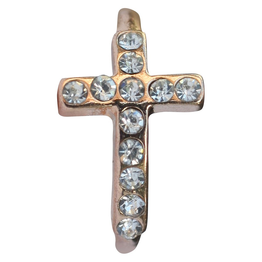 Zirconite Knuckle Sideway Cross Ring with Crystal Accents - Rose Gold, Women's, Pink