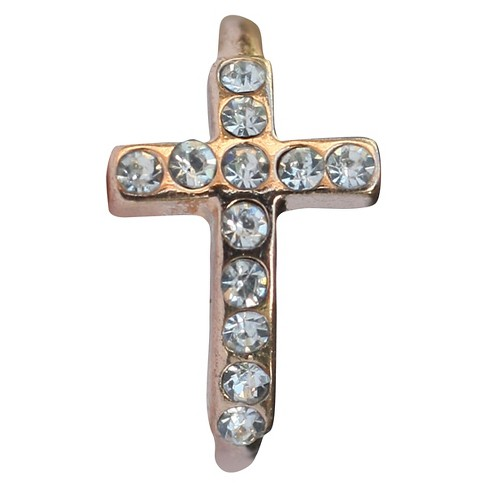 Zirconite Knuckle Sideway Cross Ring with Crystal Accents - Rose Gold - image 1 of 1