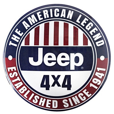Licensed Jeep 4X4 Dome Metal Sign Dark Blue/Red - Crystal Art Gallery