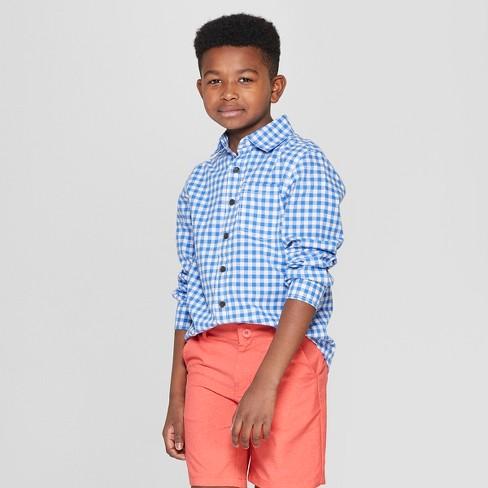 05cddf9860 Boys  Gingham Long Sleeve Button-Down Shirt - Cat   Jack™ Blue   Target