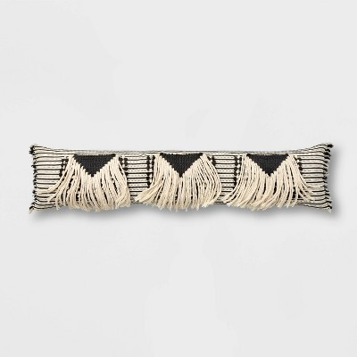 Bed Lumbar Global Fringe Decorative Pillow Black/Cream - Opalhouse™