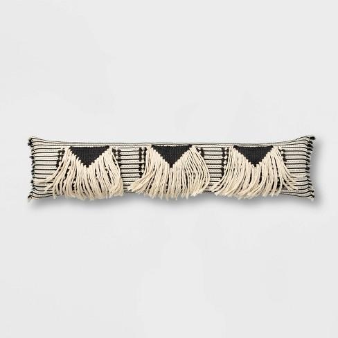 Bed Lumbar Global Fringe Decorative Pillow Black/Cream - Opalhouse™ - image 1 of 3