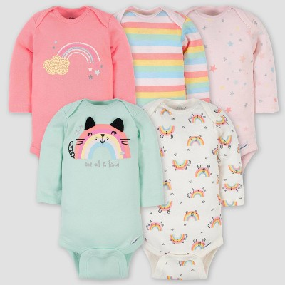 Gerber Baby Girls' 5pk Rainbow Long Sleeve Onesies - Green 0-3M