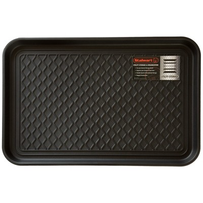"Stalwart 24""x15"" All Weather Boot Tray with Water Resistant Plastic Utility Shoe Mat for Indoor and Outdoor Black"