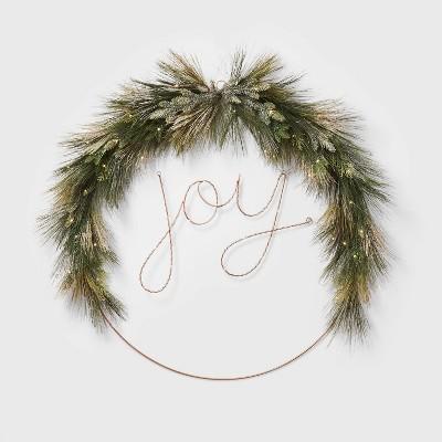 Lit Extra Large LED Wire Wreath JOY - Wondershop™