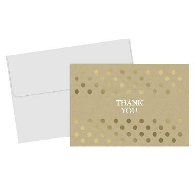 Gold Dots Thank You Cards - 50ct