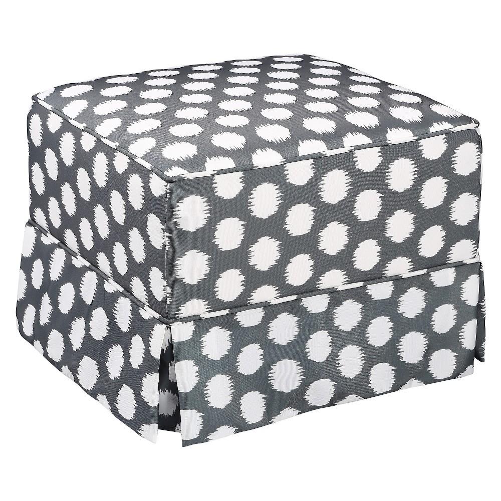 Storkcraft Polka Dot Upholstered Ottoman - Gray/White