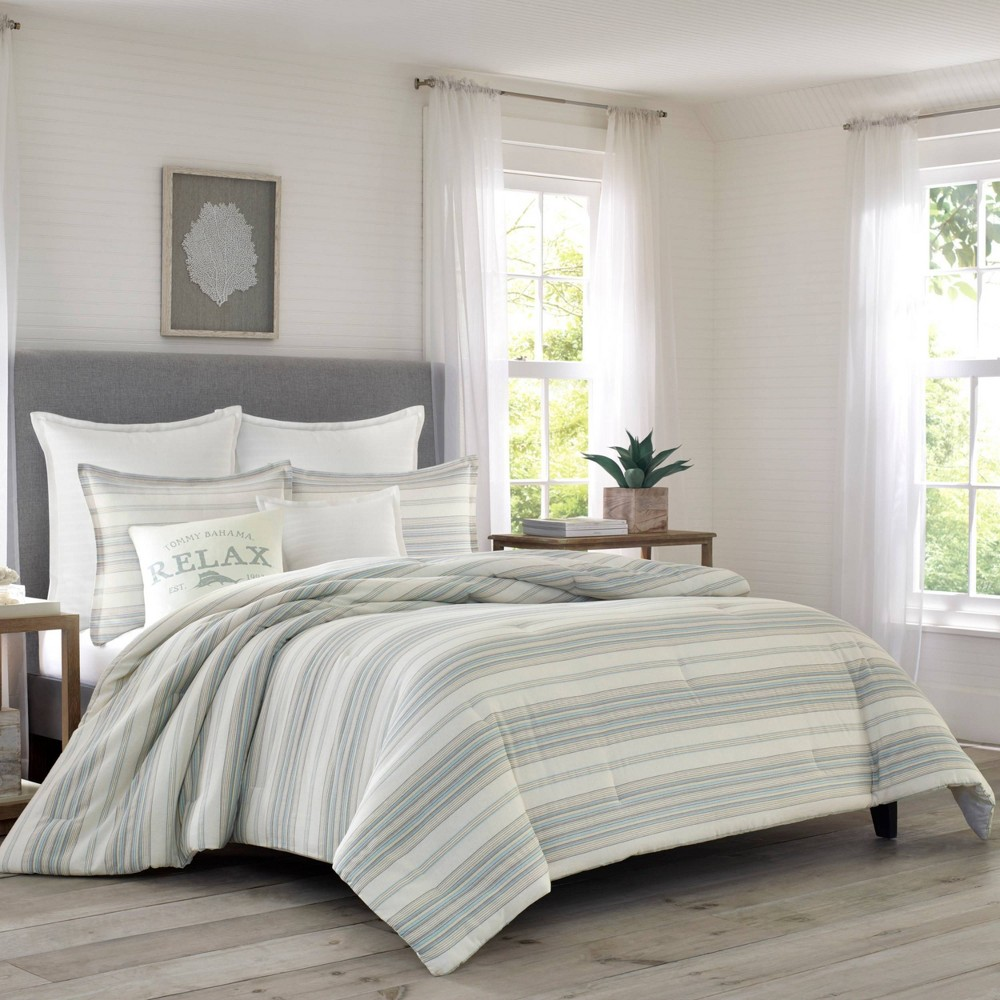 Image of Relax By Tommy Bahama Full/Queen Beachside Stripe Duvet Cover & Sham Set Natural