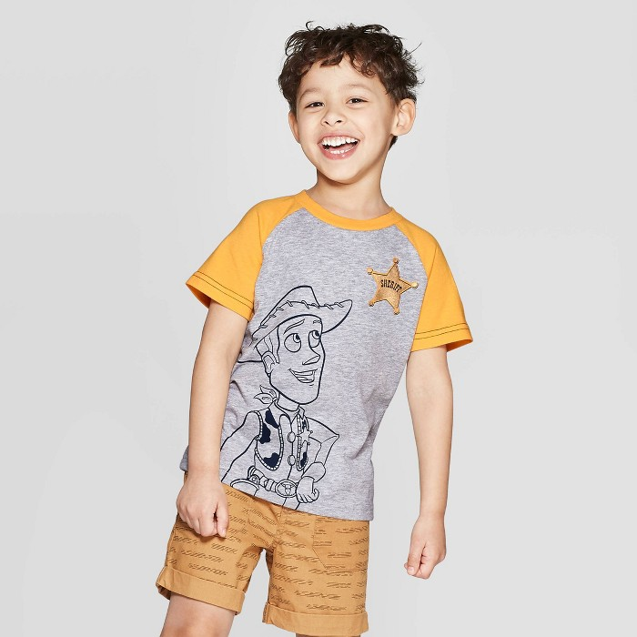 Toddler Boys' Sheriff Woody Raglan Short Sleeve T-Shirt - Gray 12M - image 1 of 3