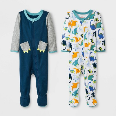 Baby Boys' 2pk Zipper Sleep 'N Play Puppy/Animals - Cat & Jack™ Blue 3-6M