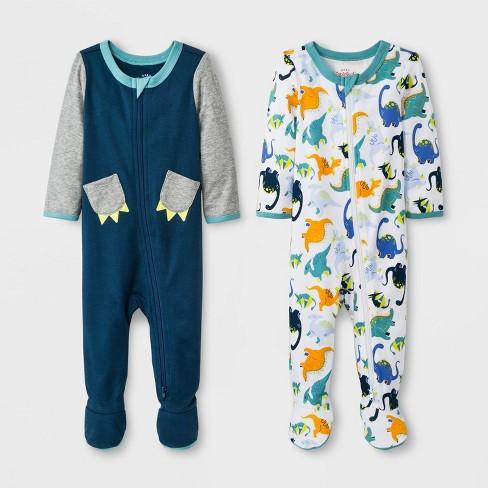 Baby Boys' 2pk Zipper Sleep 'N Play Claws/Dino - Cat & Jack™ Blue 0-3M - image 1 of 1