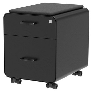 Monoprice Round Corner 2-Drawer File Cabinet - Black, Lockable With Seat Cushion - Workstream Collection