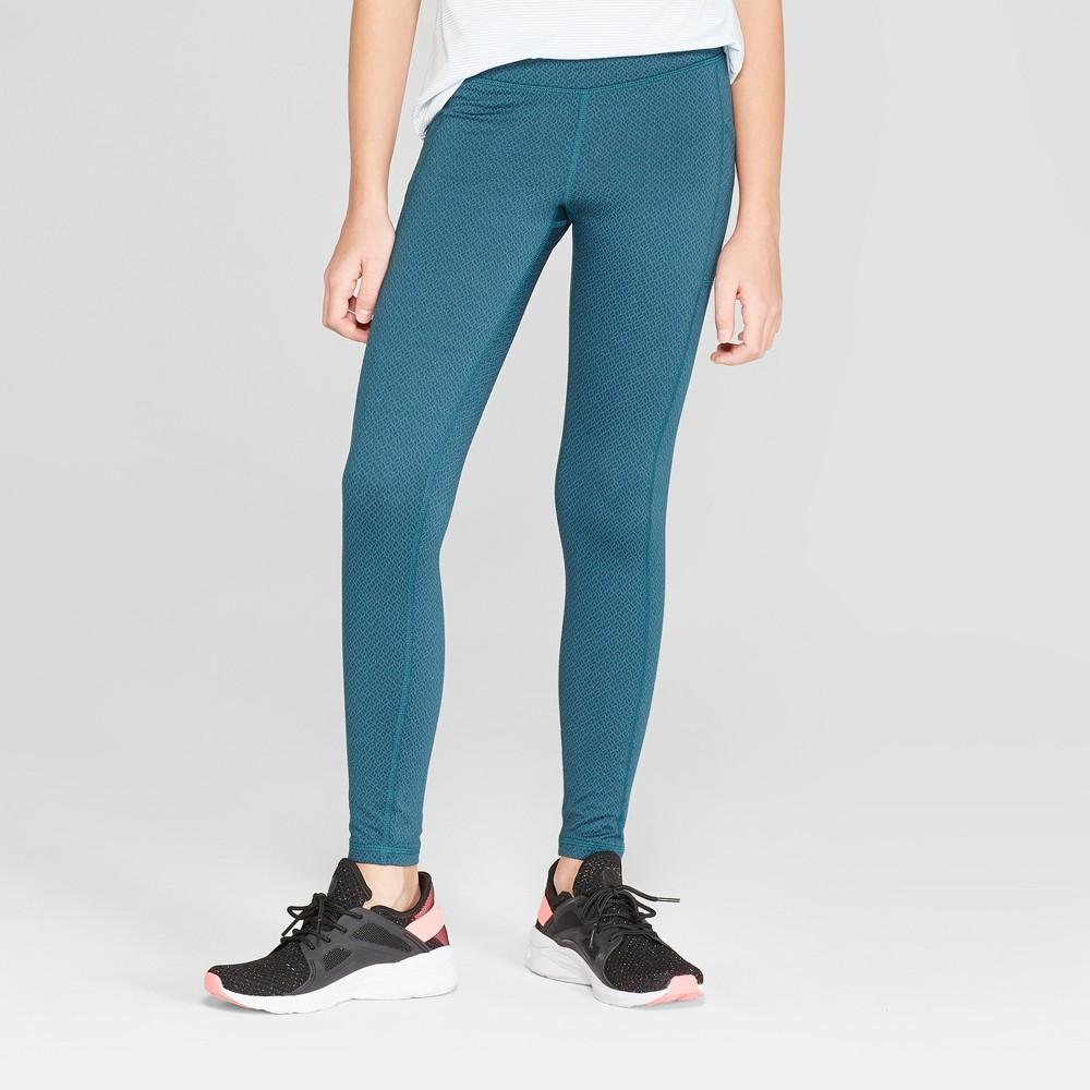 Girls' Jacquard Premium Performance Leggings With Pockets - C9 Champion Jade Green Heather S