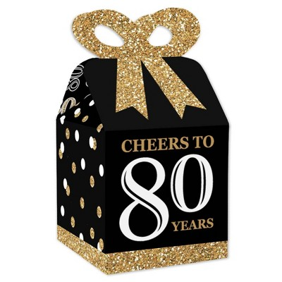 Big Dot of Happiness Adult 80th Birthday - Gold - Square Favor Gift Boxes - Birthday Party Bow Boxes - Set of 12