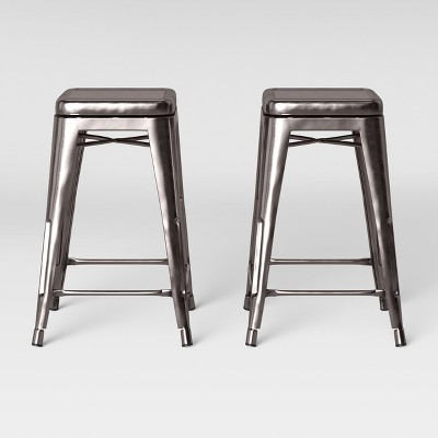 Admirable Set Of 2 Carlisle Backless Swivel Counter Stool Silver Camellatalisay Diy Chair Ideas Camellatalisaycom