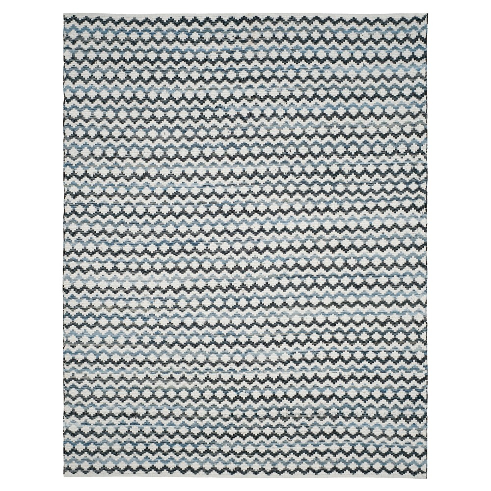 Ivory Blue/Black Stripes Woven Area Rug - (8'x10') - Safavieh