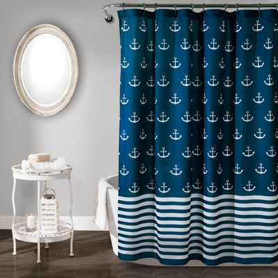 "72""x72"" Anchor Shower Curtain Single Navy - Lush Décor"
