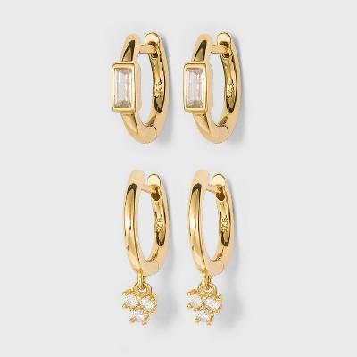 SUGARFIX by BaubleBar 14K Gold Plated Delicate Crystal Huggie Hoop Earring Set - Gold