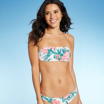 Juniors' Textured Bandeau Bikini Top - Xhilaration™ Tropical Floral Print