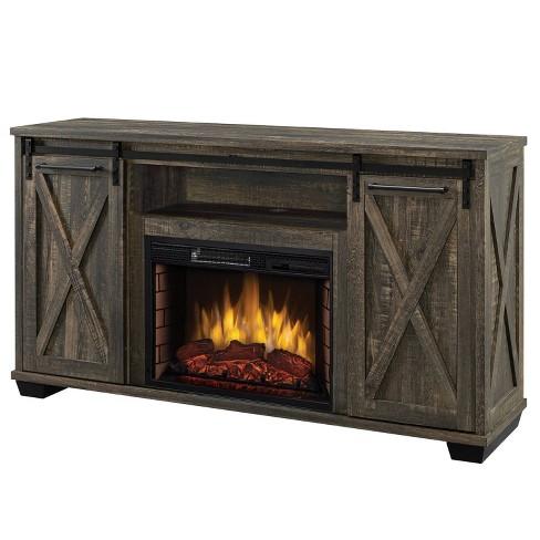 60 Rivington Infrared Media Electric Fireplace Rustic Brown Muskoka Target
