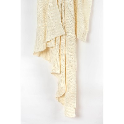 """50""""x60"""" Chunky Cable Knit Throw Blanket Cream - Rizzy Home"""