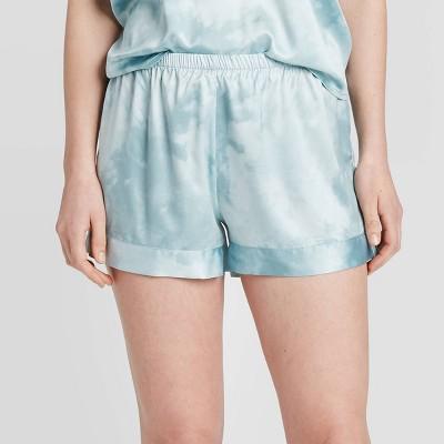 Women's Tie-Dye Print Satin Pajama Shorts - Stars Above™ Blue L