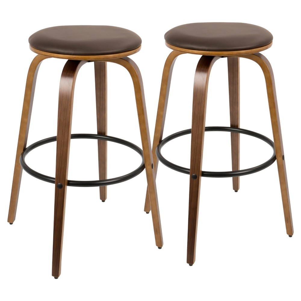 Porto Mid Century Modern 30 In Barstool with Swivel - Brown (Set of 2) Lumisource