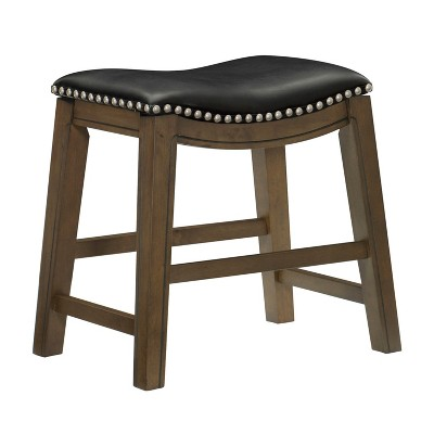 Homelegance 18-Inch Dining Height Wooden Bar Stool with Solid Wood Legs and Faux Leather Saddle Seat Kitchen Barstool Dinning Chair, Black and Gray