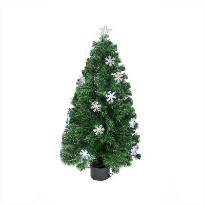 Northlight 3' Prelit Artificial Christmas Tree Color Changing Fiber Optic with Snowflakes