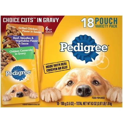 Pedigree Pouch Choice Cuts In Gravy Wet Dog Food Grilled Chicken, Beef & Chicken Casserole - 3.5oz/18ct Variety Pack