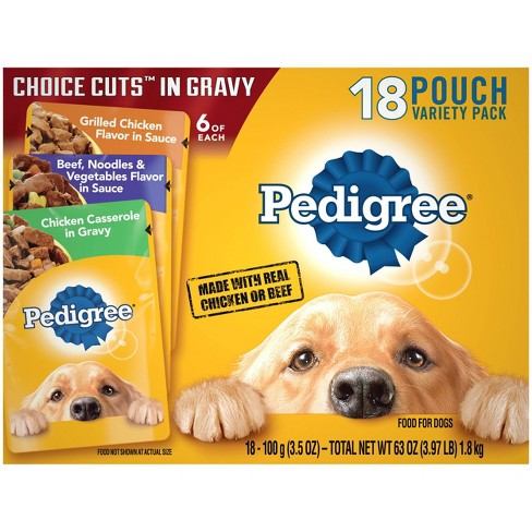 Pedigree Pouch Choice Cuts In Gravy Wet Dog Food Grilled Chicken, Beef & Chicken Casserole - 3.5oz/18ct Variety Pack - image 1 of 4