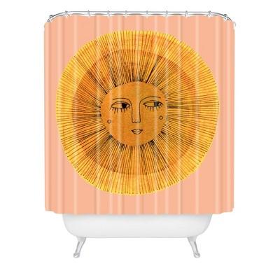 Sewzinski Sun Drawing Shower Curtain Gold/Pink - Deny Designs