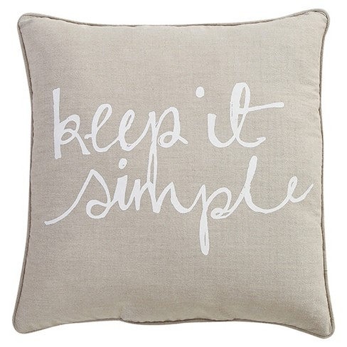 "Taupe Keep It Simple Throw Pillow (18""x18"") - VCNY Home - image 1 of 1"