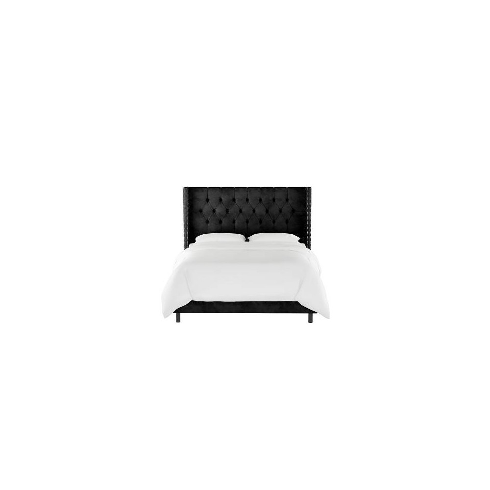 Full Louis Diamond Tufted Wingback Bed Black Velvet with Pewter Nail Buttons - Skyline Furniture