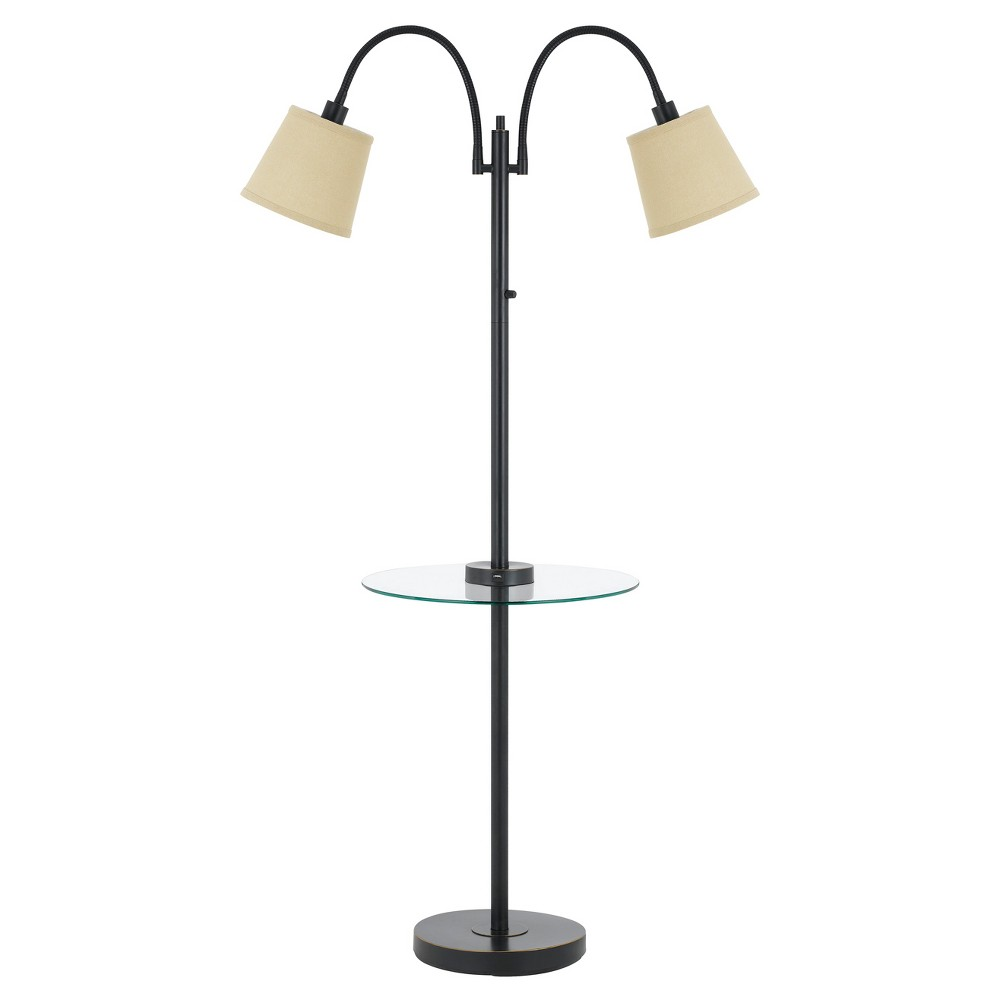 40w 3 Way Gail metal Double Gooseneck Floor Lamp With glass Tray Table Bronze (Includes Energy Efficient Light Bulb) - Cal Lighting