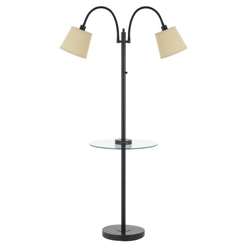 40w 3 Way Gail metal Double Gooseneck Floor Lamp With glass Tray Table Bronze (Includes Energy Efficient Light Bulb) - Cal Lighting - image 1 of 1