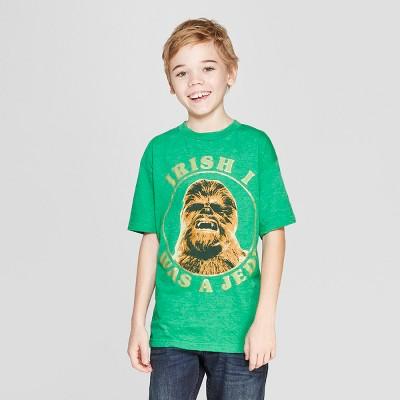 7b86bfa17 Boys  Star Wars Chewie Irish I Was A Jedi St. Patrick s Day Short Sleeve T- Shirt - Green   Target