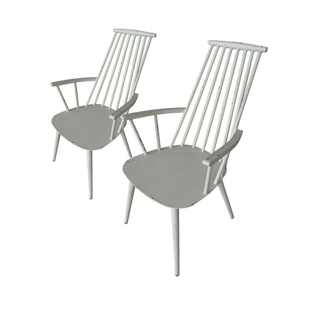 Image of 2pk Hancock Aluminum Indoor/Outdoor Dining Chair Retro White - Thy Hom